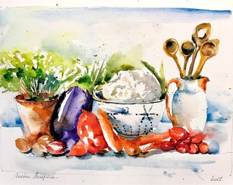 Watercolor original painting - Ready to cook vegetables (watercolor painting vegetables carrot Eggplant onion tomato parsley)