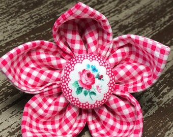 Bow Tie or Flower Collar Attachment & Accessory for Dogs and Cats / Pink Gingham and Floral Accent