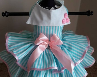 Dog Dress  Aqua and white stripes  with pink and collar