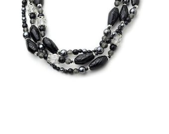 Long Black Necklace with Hematite and Great Crystals 50""