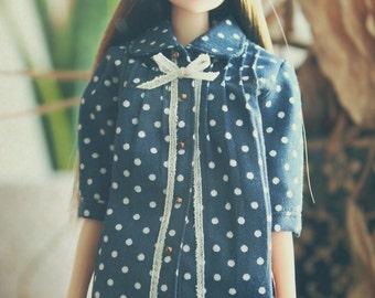 jiajiadoll navy blue dots shirts for Momoko or Misaki or Blythe