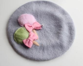 Fairy Floss Beret (Pink & Mint)
