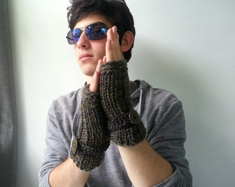 Ribbed Khaki and Gray Fingerless Men's Gloves Handknit in Wool.