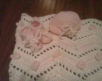 Baby Afghan and hat, booties set