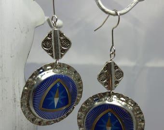 Recycled bottle cap earrings