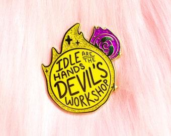 Overwatch Moira Glitter Orbs Hard Enamel Pin // Idle Hands, gold, hero, healer, lapel, badge, brooch, kawaii, cute, gaming, gamer