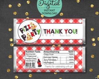 Pizza Candy Bar Wrappers, Pizza Birthday Party, Pizza Party, Party Favors, Hershey, Candy Wrappers, Pizza,  INSTANT DOWNLOAD #3337