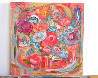 Expressive, colorful floral art painting on wood 16x16""