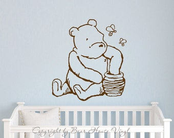 Classic Winnie the Pooh with Hunny Pot inspired vinyl wall decal