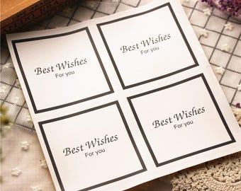 40pcs white best wishes for you sticker,paper sticker,wedding sticker,gift candy cookie packaging decor sticker,adhesive labels