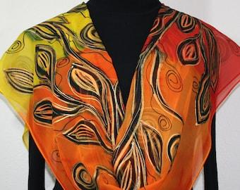 Yellow, Orange, Red Hand Painted Silk Shawl Morning Sunshine. Large 14x72. Silk Scarves Colorado. Elegant Silk Gift, Birthday Gift