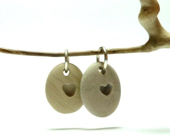 TWO HEARTS Stone Charms Pebble Rock Jewelry Pendant Hand Drilled Beach Pebble River Rock Necklace Dangle