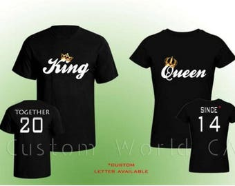 """Couple Custom T-Shirt """"Together Since King & Queen T-Shirts Love Put the Dates - His And Hers Matching Tees ( Comes 2 T-Shirts Men-Women)"""