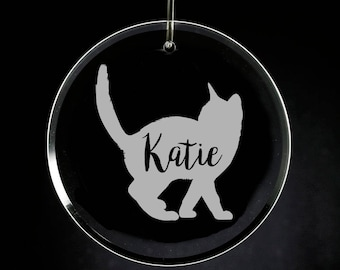 Cat Christmas Ornament Glass Engraved, Personalized, Sandblasted Kitten Xmas, Etched Pet Gift, Christmas Gift