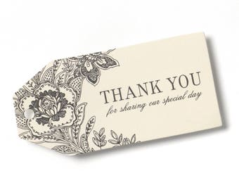 25pk Vintage Floral Ivory Thank You Tags Bridal Shower Wedding Favors