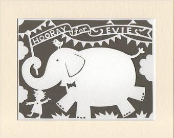 Elephant Nursery Art, Personalized Handcut Papercut, Jungle Nursery Decor, Baby Naming Gift, Baby Keepsake