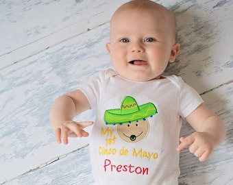 My 1st Cinco de Mayo personalized shirt or bodysuit! Fiesta, Cinco De May bodysuit, Baby's 1st Cinco De Mayo! Cinco De Mayo Fiesta Outfit