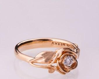 Rose Engagement Ring, 14K Rose Gold and Diamond engagement ring, engagement ring, leaf ring, flower ring, art nouveau, vintage, 3