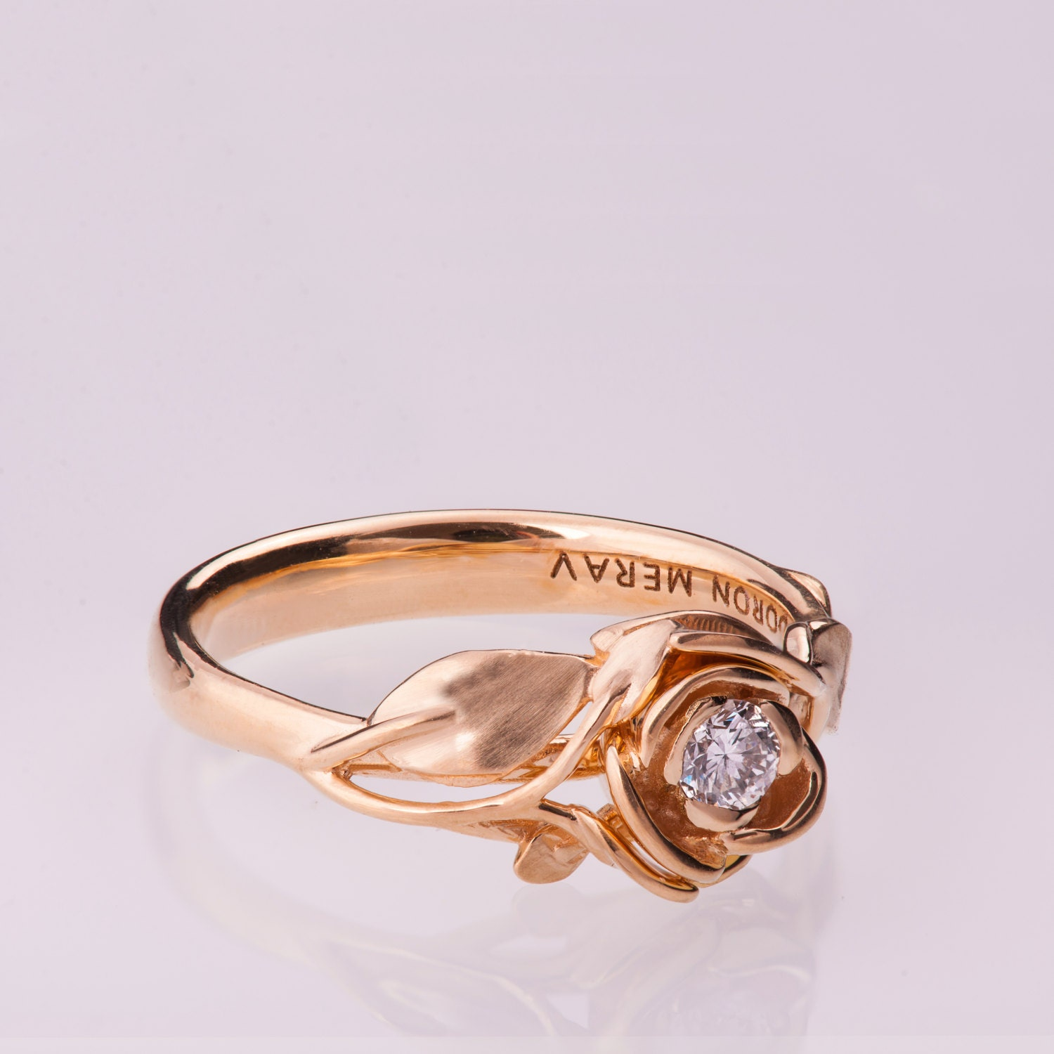 Rose Engagement Ring 14K Rose Gold and Diamond engagement