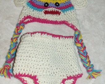 Newborn Sock Monkey Hat and Diaper cover with tail, Crochet Sock Monkey Hat, Animal hat, Sock monkey photo prop, Sock Monkey knit hat set