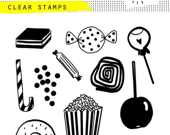 clear photopolymer candy stamp sweet pop corn lolly liquorice caramel cane donut yummy