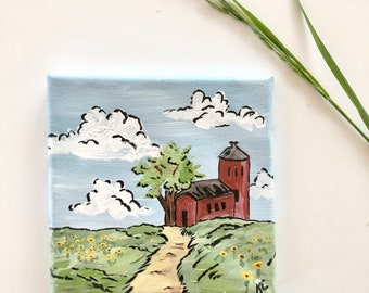 Small Red Barn Original Painting