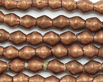 100 Copper Handmade Bicone Ethiopian Beads (7mm) - Recycled Hand-forged African Beads - Upcycle Beads -Tribal Trade Beads (102-ETH-MET)