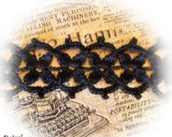 lace crochet handmade black cotton