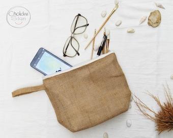 Natural Burlap Cosmetic Bags, Makeup Bags