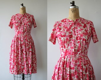 vintage 1960s dress / 60s shelton stroller dress / 60s zip front dress / 60s nylon dress / pink white floral dress / medium 28 inch waist