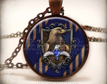 Art Pendant /Potter Necklace / Wisdom / Raven / Nerd Gifts / Nerdy / Wizard / Witch / Magic / Magical / Wizardry / School of / HP / Claw