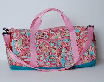 Gym Bag-Weekend Bag-Duffel Bag-Travel Bag-Luggage-Womens Overnight Bag-Quilted Fabric Duffel Bag -Duffel Bag for Women-Duffel Bag for Men