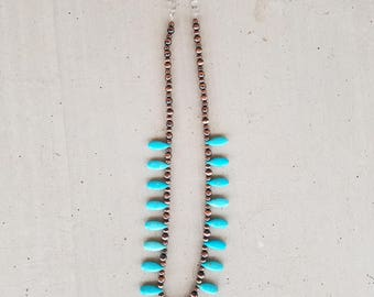 Copper Navajo Pearls and Turquoise Necklace