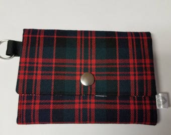 Plaid Coin Purse with Key Ring and Stud Fastening - Scottish MacDonald Tartan - Stag Cotton Lining - Scottish Theme.