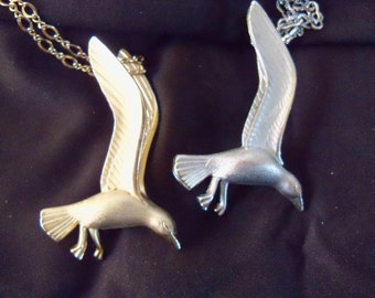 Marked Vintage Seagull Necklaces-Signed Giovanni- Set of 2