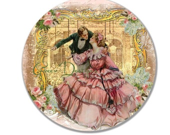 Versaille Couple Vintage Roses Wedding Dance 10 inch Art Plate 100% Made in America