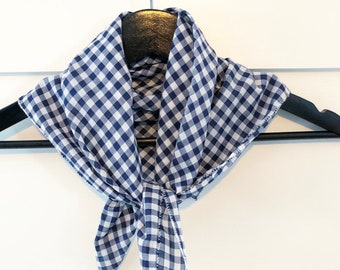 Blue and white checked scarf
