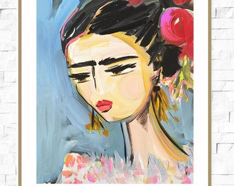 Frida Print, roses, pretty, portrait, paper or canvas