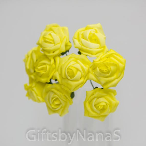 Yellow foam roses 9pc bulk foam roses real touch flowers canary 699 mightylinksfo