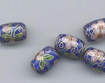 Five vintage Japanese cloisonne beads - floral pattern on a cobalt blue background - 14 x 10 mm barrels