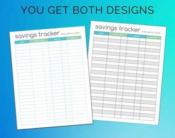 Savings Tracker Printable Register Teal and Green