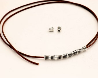 Brass Cone Ribbed Tube Beads - Antique Silver - Sterling Silver Plated - Qty. 10