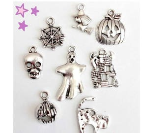 8 to 12 mm mixed Halloween Gothic 27 charms: Spider witch cat pumpkin ghost witch haunted house skeleton skull