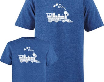 July 4th - Fourth of July - Father Child Matching Matching Dad Son Shirts, USA Train T shirts, new dad shirt, dad kid, gift for dad kids
