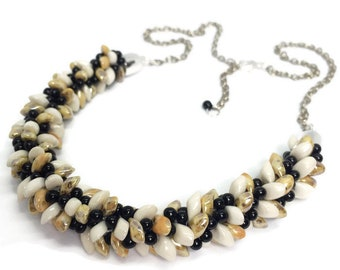 Pebble yellow, white and black statement kumihimo hand-braided glass beaded necklace
