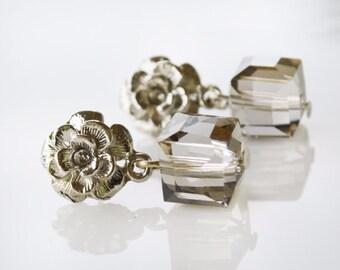 Crystal square post stud flower women silver earrings