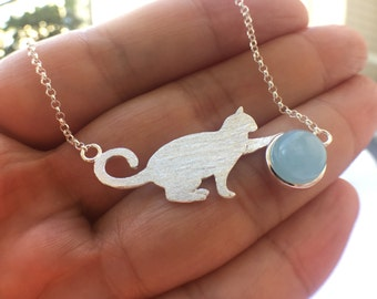 Kitten Charm Necklace Sterling Silver Cat Gemstone Bead Necklace Lovely Cat Design Gift for her