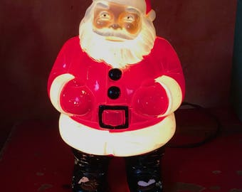 santa light . 50s xmas decoration . celluloid santa lamp . santa lamp