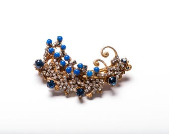 Signed Miriam Haskell Russian Gold Repousse Lapis Glass and Crystal Brooch 1950s