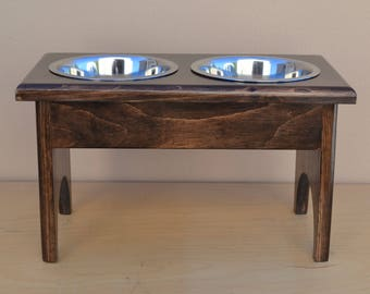 """For Your MEDIUM SIZE DOG Raised Feeding Station Elevated 9"""", Carefully Hand Crafted, 2 One Quart Stainless Bowls for a Healthy Feeding Area!"""